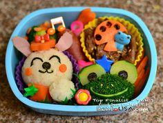 Frog Broccoli and Rabbit Rice ball - kids school lunch