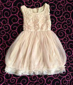 Flower girl Girls Rosette Beige/Champagne vintage dress for any occasion