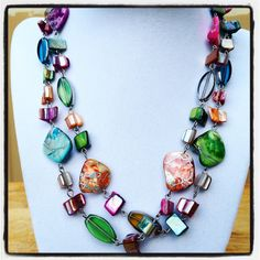 Long Colorful Shell Bead and Metal Chain by JewelsofJane on Etsy, $17.00