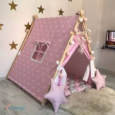 Diy Teepee, Diy Tent, Sleepover Party, Slumber Parties, Diy Crafts For Girls, Diy For Kids, Diy Toddler Bed, Bunny Room, Creative Kids Rooms
