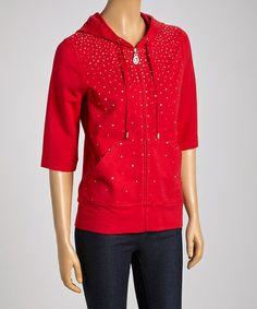 Loving this Red Sparkle Zip-Up Hoodie on #zulily! #zulilyfinds