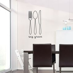 Say Grace Silverware Wall Quote Decal - Kitchen Wall Sticker, Silverware Decal, Spoon Knife Fork, Kitchen Decal Sticker, Dining Room Decal
