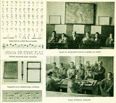1912 Procede enseignement pour les aveugles Alphabet Relief Methode Braille Planche Originale Larousse Decor Vintage 105 ANS D'AGE