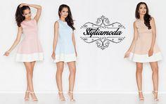 Bardzo kobieca sukienka z klasyczną górą na szerokich ramiączkach oraz rozkloszowanym dołem. Idealna na randkę <3  http://styliamoda.pl/home/4310-rozkloszowana-sukienka-z-kontrastowa-lamowka.html