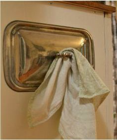 PRETTY/CLEVER!  Serving tray lid towel holder This will be perfect in my kitchen!!!!