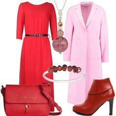 Dalle passerelle accostamenti di colore diversi dal solito. Osserviamo l'abito rosso svasato, con manica a 3/4, lungo e leggero, coperto dal cappotto rosa, dalla vestibilità ampia e con collo a bavero. Abbiniamo un paio di tronchetti in fintapelle con tacco alto, borsa a tracolla Valentino, collana con pendente con le varie sfumature di rosa e bracciale rigido.