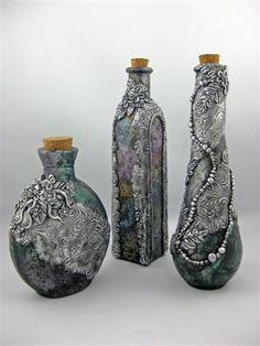 """""""Victorian Potion Bottles"""" created by Jayne Ayre from Kismet Clay Designs. www.kismetclaydesigns.blogspot.com"""