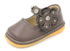 Squeaky Shoes For Toddlers | Girls Black w/ Flower Mary Janes