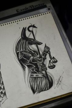 Anubis tattoo sketch - Thiago Padovani