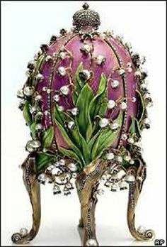 Peter Carl Faberge was commissioned to create the first egg for the twentieth wedding anniversary of Alexander III and his wife Maria Feodorovna in 1885 Lilies of the Valley