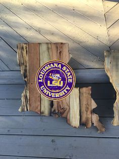 LSU cutout built with reclaimed pallet wood.