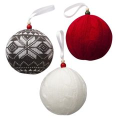 Knit Ball Ornament--see these suckers? Styrofoam ball wrapped in an old knit sweater. One and done.