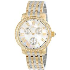 """Invicta """"Angel"""" 18k Gold Ion Plating, Stainless Steel, and Crystal... ($84) ❤ liked on Polyvore featuring jewelry, watches, stainless steel jewelry, yellow gold watches, gold watches, gold wrist watch and gold jewelry"""