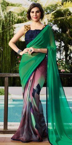 Stupendous Green And Multi-Color Georgette Saree.