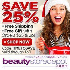 Get Black Friday savings all week long at beautystoredepot.com! Use code TIMETOSAVE for 25% OFF ALL ORDERS + Free Ship + Free Samples + Free Gift with orders $25+. Offer good through 12/1!