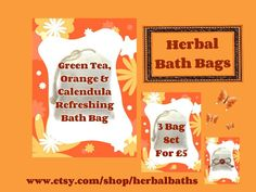 Bath and Beauty, 3 Herbal Bath Bags, Green Tea, Orange & Calendula Refreshing Bath Bag, Bath Set, Home Spa, Relaxation, Herbal Gift Set by HerbalBaths on Etsy