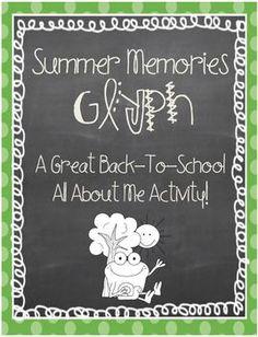 Summer Memories Glyph Back To School Activity Back To School Activities, Literacy Activities, Educational Activities, School Ideas, Back 2 School, First Day Of School, School Stuff, Teaching Boys, Teaching Ideas