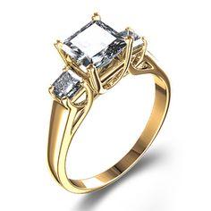 Zoara in Utah Three-Stone 3/4 ctw Trellis-Set Princess Diamond Ring in 18k Yellow Gold...except in silver or white gold