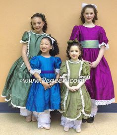 Nutcracker Party Scene Dresses, BACK ROW: Left 397 in Basil Green and Right in Boysenberry with Wintergreen Sash - details style 398 Nutcracker Party Scene Dresses, Left 745 in Malibu and Royal Purple and 397 on Right in Olive
