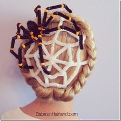 Awesome pipe cleaner spider web hairstyle! This would be so fun for Halloween and maybe even crazy hair day!