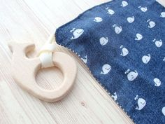 Baby Teething Blanket,Rattle Teether Toy,Wooden Ring Whale Fish Elephant Bird,Sensory Chew Toy,Navy Denim Whale,Nautical,Super Soft Muslin
