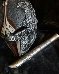 I think that I could Print the helmet and then cast it from aluminum before finishing it with engraving and rotary tools. Lightsaber Design, Lightsaber Hilt, Custom Lightsaber, Star Wars Sith, Star Wars Rpg, Clone Wars, Star Trek, Star Citizen, Lord Sith