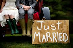 Riverside Farm: Vermont country wedding with the red Ford pickup truck, Hunter boots and hand painted signs. Folded hands... so cute.