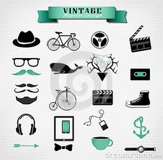 Hipster style elements, icon and object can be by Merfin, via Dreamstime
