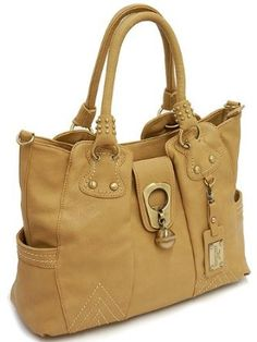 Designer Inspired Handbag w/ Gold Tone Hardware - Tan $44.50