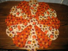 """Dresden Plate Fall Centerpiece, Pumpkins, Leaves, Sunflowers, Acorns   25"""" by sewcalico65 on Etsy"""