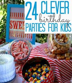 24 clever kid birthday party theme ideas... Olympic, pizza, pirate, art, camping just to name a few!