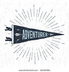 "Hand drawn adventure pennant flag vector illustration and ""Adventures"" inspirational lettering."
