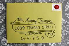 """Cute banner style... draw swirl first, then name, st address, draw banner top line, fill in city, st, zip and embellish lines Wedding Calligraphy Envelope Addressing """"Truman Style"""" Handwritten."""