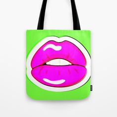 Buy Kiss Me #buyart #popart #kissme #society6 Tote Bag by beebeedeigner. Worldwide shipping available at Society6.com. Just one of millions of high quality products available.