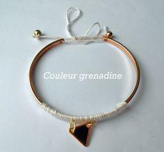 Bracelet jonc tissé laine rose et triangle : Bracelet par couleur-grenadine33