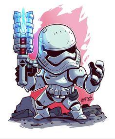 Chibi Star Wars - First Order Storm Trooper Star Wars Fan Art, Star Trek, Star Wars Tumblr, Star Wars Karikatur, Star Wars Cartoon, Chibi Marvel, Chibi Superhero, Deadpool Chibi, Chibi Characters