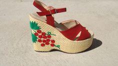 CHERRY BOMB PLATFORMS amazing vintage 1970s platform sandals 7. $158.00, via Etsy.