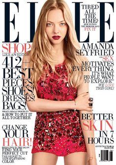 Amanda Seyfried looks ravishing in red on the Aug. 2013 cover of #Elle Magazine. #beauty