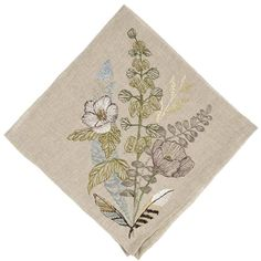 SHOP ALL DINNER NAPKINS A gathered collection of poppy flowers, greenery, and feathers adorn this napkin. Pairs well with Plants Table Runner and Thistle Dinner Napkin. Embroidered on 100% linen fabri