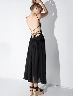 Black Wrap Lace Up Floaty Midi Dress