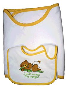Unique Baby Shower Gift Idea - a bib and burp cloth that STAYS PUT! No more messy clothes!