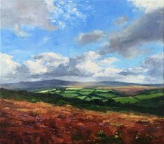 This painting features the distant light on the hills and fields, as the clouds travels across the landscape, driven by the ever-present wind. Painted with Fields, My Arts, Clouds, Texture, Landscape, Stretched Canvas, Brushes, Knives, Pallet