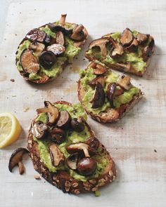 Roasted Mushroom Tartines with Avocado | Whole Living. These are truly fabulous! I cubed large, white stuffing mushrooms and toasted thick slices from a sprouted grain baguette. Amazingly flavorful with just salt and pepper; will try variations with fresh herbs.