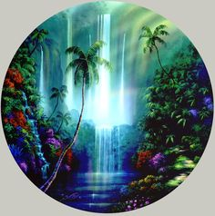 Tropical Waterfalls | tropical waterfall paintings by artist David Miller