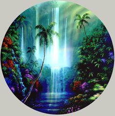 Tropical Waterfalls | tropical waterfall paintings by artist David Miller