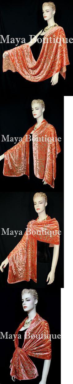 Wraps and Jackets 105472: Maya Matazaro Tangerine Camellia Shawl Wrap Scarf Burnout Velvet Elegant! -> BUY IT NOW ONLY: $79.99 on eBay!