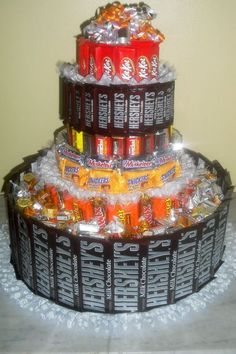 Candy cake....love the idea, but there are no directions on this pin. Have to Google it. I want to know how to do this