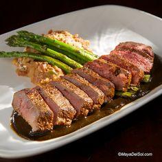 lomo de borrego   lamb loin, asparagus, frijoles puercos, pasilla-huitlacoche sauce