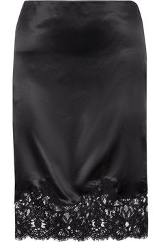 GIVENCHY Cotton-Blend Lace-Trimmed Silk-Satin Skirt. #givenchy #cloth #skirts