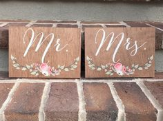 Mr and Mrs Chair Signs - Floral - Wooden Wedding Signs